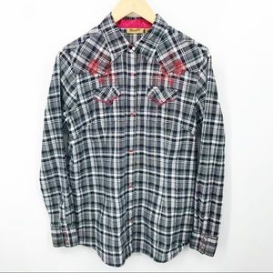 Wrangler Shirt Cowboy Western Pearl Snap Rodeo Red